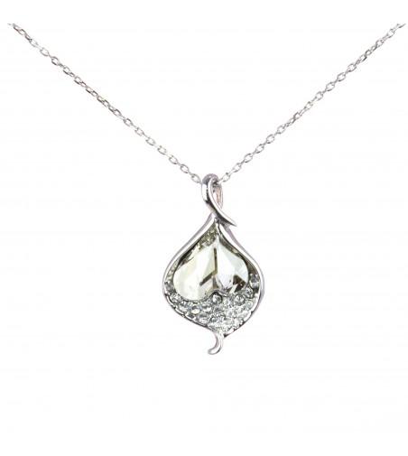 Colier cu pandantiv cristal Swarovski si strasuri zirconiu, CLC-70, argintiu