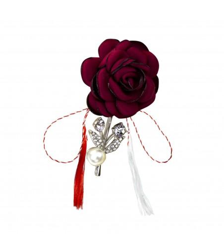 Brosa dama cu floare si perla