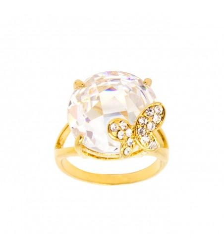 Inel cu cristal Swarovski si fluturas, placat cu aur 14K
