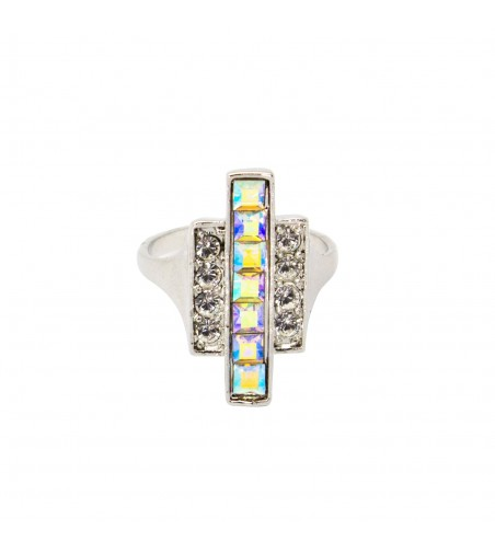 Inel cu cristale Swarovski patrate cu reflexii multicolore, argintiu