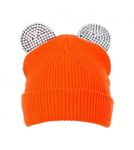 Caciula tineret tricotat cu urechi, portocaliu