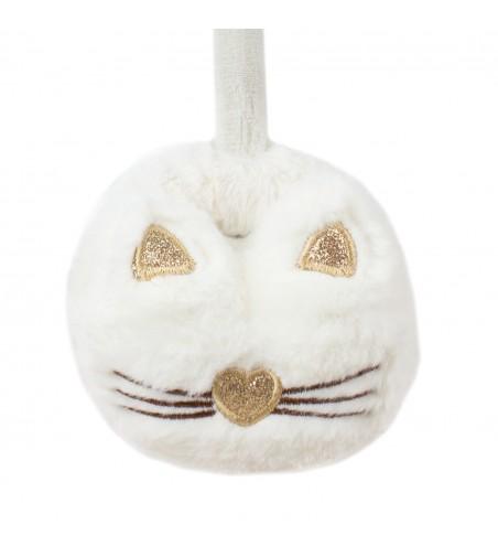 Casti de protectie urechi copii pisica, PC419-175, 2-7 ani, alb