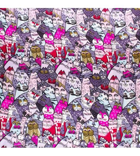 Batic dama matase naturala Pami cu pisicute, 90x90 cm, multicolor