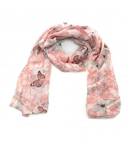 Esarfa dama bumbac cu imprimeu fluturi, roz